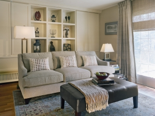 transitional interior design with custom built-ins for art collection
